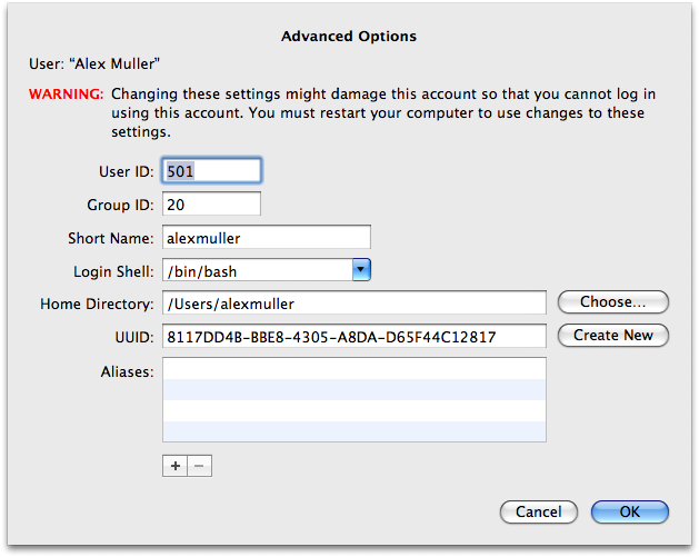 System Preferences » Accounts » Advanced Options