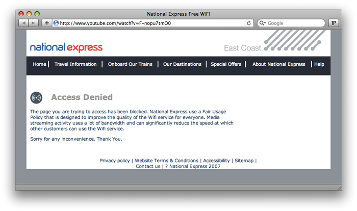 Access Denied from National Express