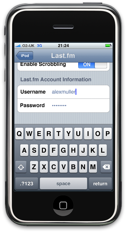 iPhone Last.fm Settings