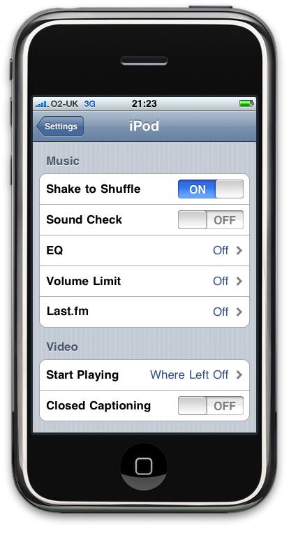 iPhone Music Settings