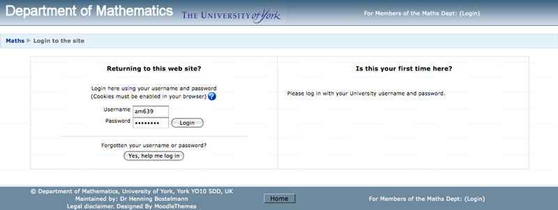 Moodle: Old Login