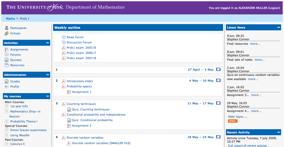 Moodle: New Course Page