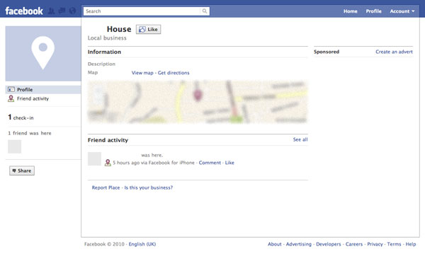 Facebook Places screenshot: somebody's house
