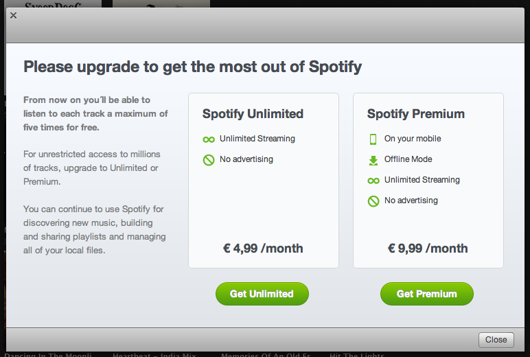 Please upgrade to get the most out of Spotify