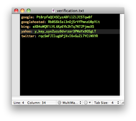 Screenshot of an example verification.txt file